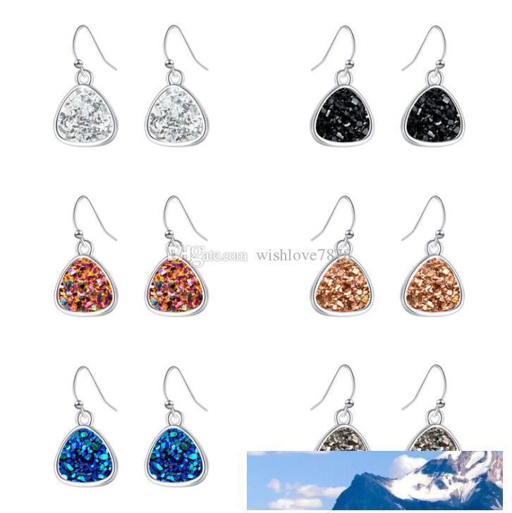 Mode Dreieck Drusy Druzy Ohrringe Silber überzogenes Harz Drusy Geometry Rock Stein baumeln Charme Ohrringe Frauen Schmuck Geschenk