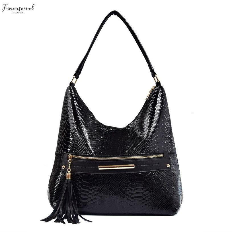 Женщины кисточкой Pu кожа Hobos плеча сумки на молнии Дизайнер Змея шаблон Большая Верхняя ручка сумка сумки для дам