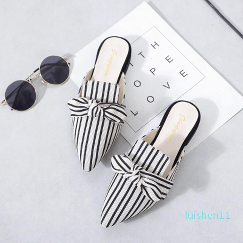 Elegant Striped Women Mules Slippers Pointed-Toe Flat Ladies Office Shoes Butterfly-knot Decoration Women Shoes Summer Slides l11