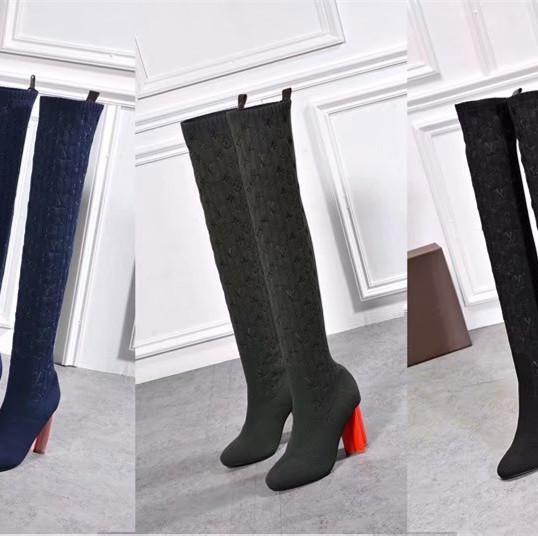 2020 Herbst Winter neuer Stil Strumpf Stiefel elastisch zeigen dünne Wolle Garn starken Absatz Socken Stiefel Damenschuhe