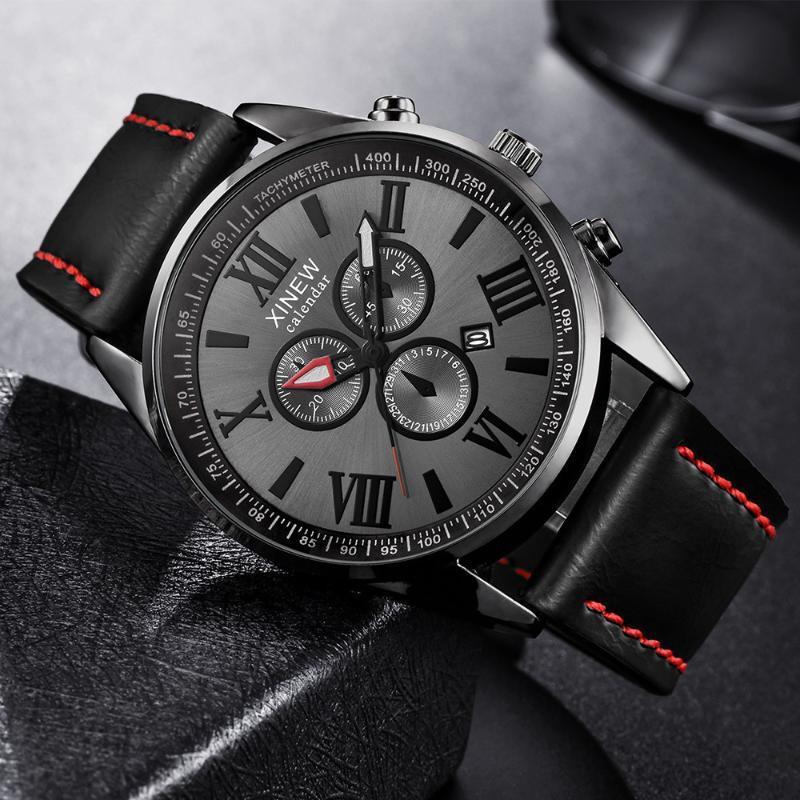 XINEW Mann-Uhr-Leder-Band-Sport-Datum Analog-Legierung Quarzuhr Mann Uhren Mens 2020 Relogios masculino