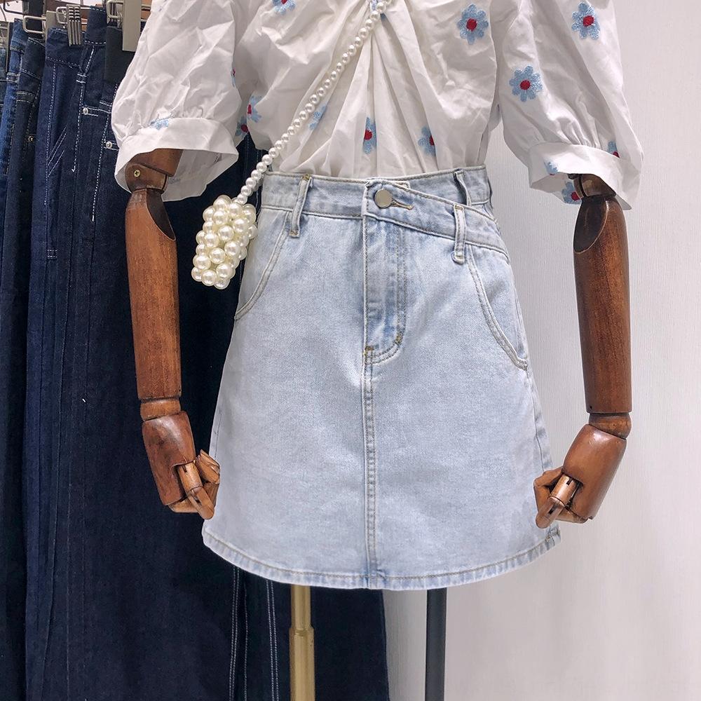 nuova breve estate delle donne del vestito 57QJj coreana Dongdaemun gonna 2020 coreano di alta ombrello vita dimagrante dell'anca linea A- gonna corta denim