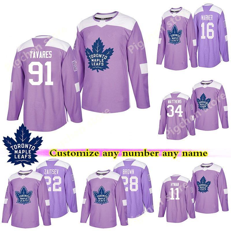 Toronto Maple Leafs Combattimenti viola Cancer maglie 17 Wendel Clark Gilmour Zach Hyman Kapanen personalizzato qualsiasi numero qualsiasi nome hockey jersey