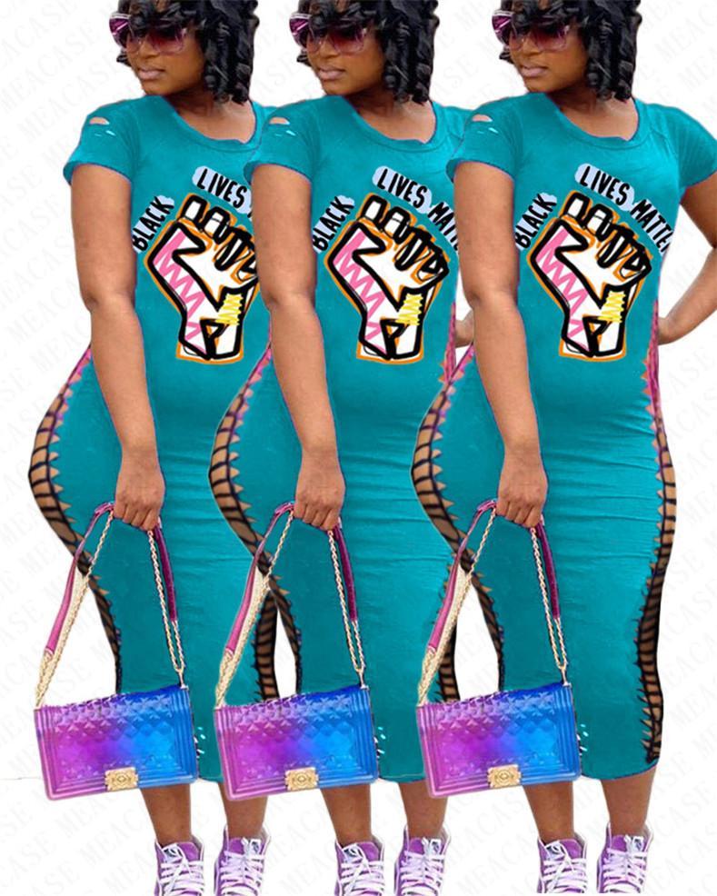 Женщины Платья ЧЕРНЫЙ ЖИВЕТ ВЕЩЕСТВО Письма Печать Сломанный Hole короткими рукавами футболки Тонкий платье Sexy One Piece юбки платье S-3XL D71401
