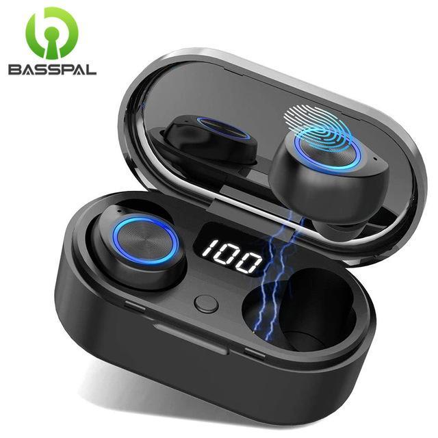 luetooth Cuffie BassPal senza fili Bluetooth 5.0 auricolari auricolare in-ear con cancellazione del rumore Auricolari Sport TWS Touch Control impermeabile ...