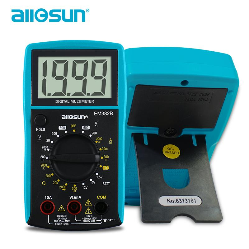 كل الشمس يده المقاومة رقمي متعدد المتر AC DC الجهد فاحص الحالي متر شاشة LCD كبيرة EM382B $