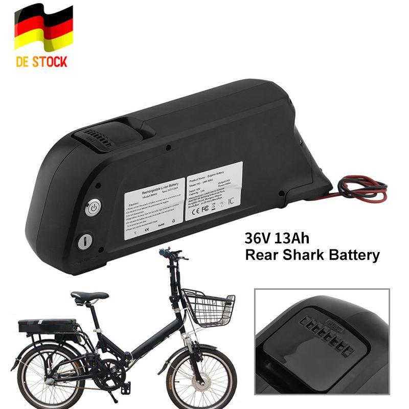 Bicicleta E-Bici 36V 13Ah trasera eléctrica de la batería de ion de litio bicicleta eléctrica tiburón batería con el cargador de la UE