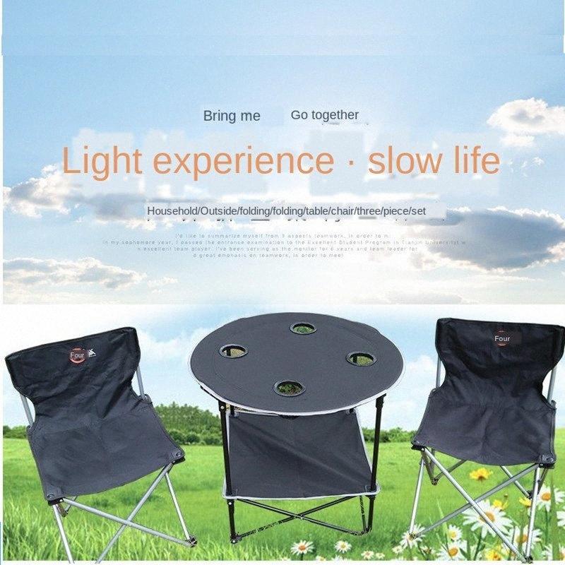 Extérieur Table pliante, Chaise et tabouret Set de table de pique-nique Camping Portable, Chaise et tabouret bas Chaises pliantes Meubles de jardin De Joh XqGY #