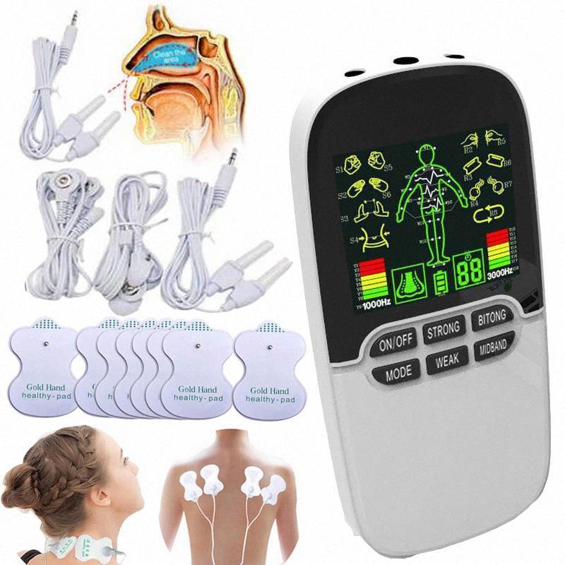 3-Output Muscle Stimulator Tens Acupuncture health care Neck Massager back Laser Bionase Nose Rhinitis EMS Massager Fat Burner F1yV#