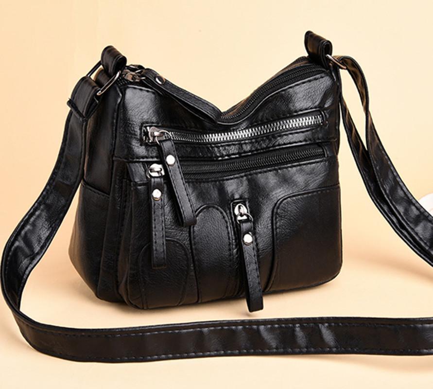 Bolsos de hombro de cuero de las mujeres suaves para las señoras Crossbody Bolsa simple manera femenino pequeño bolso de mano de alta calidad de Nueva