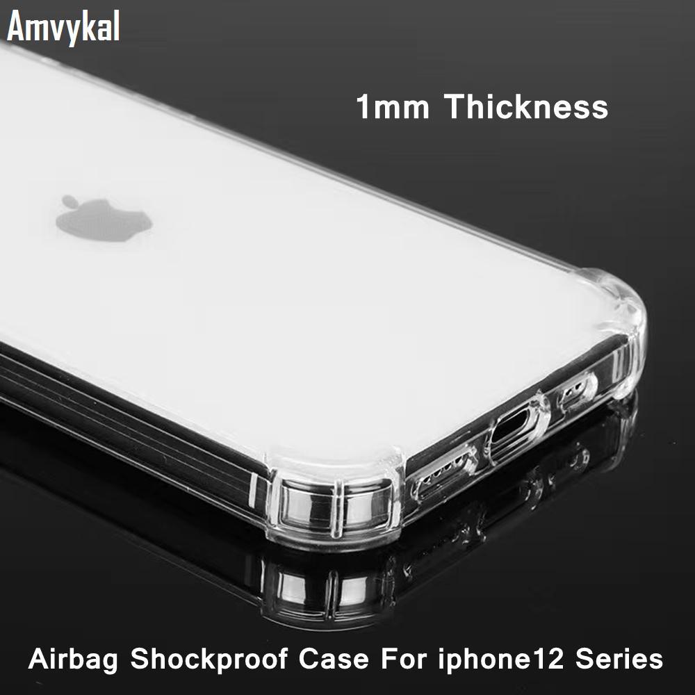 Yüksek Kalite 1 MM TPU Hava Yastığı Anti-Knock Temizle Kılıf iphone 12 Pro için Max Ince Yumuşak Silikon Kapak iphone12 12mini 12pro