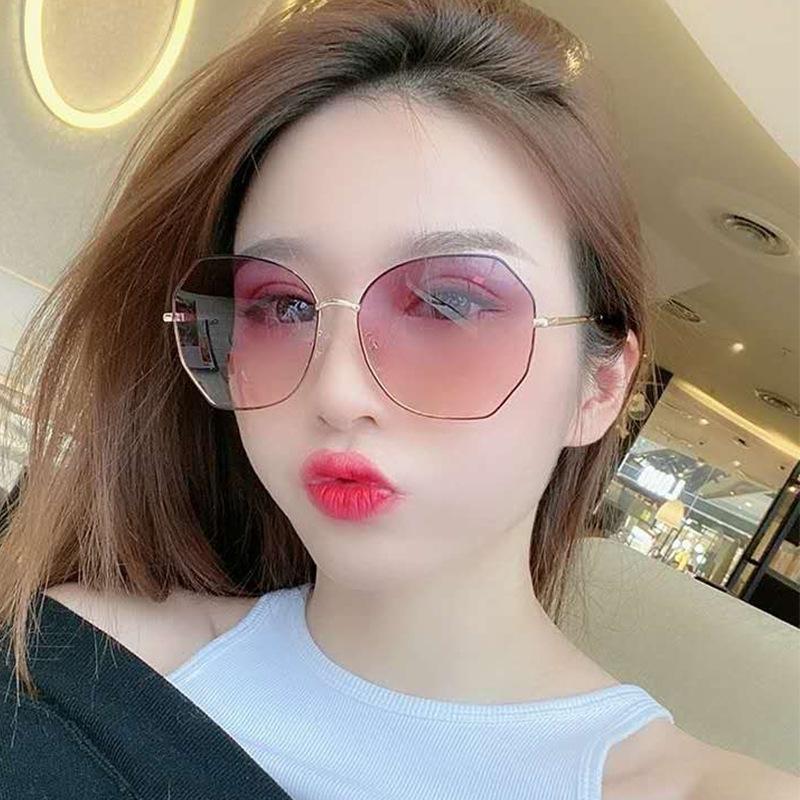 2020 новый женский оттенок модно обрезки бескаркасного металла ВС Зонтик ВС очки женских солнцезащитных очков