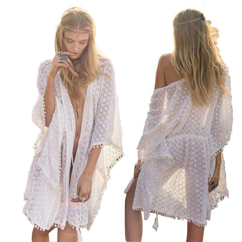 2020 Summer Beach Pizzo Frock donne occultamenti grembiule nappe Breve Ruffle manica signore scavano le vacanze Robe Bikini Lace-up Dress