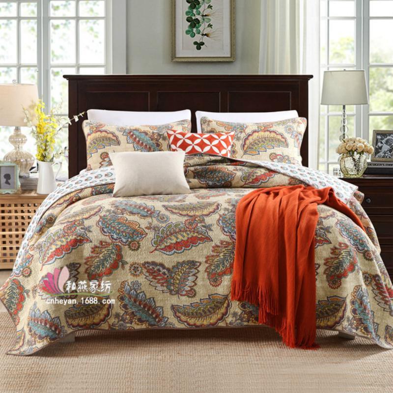 2020 Textiles para el hogar acolchado lavada Impreso CottonThree piezas cama cubierta de la hoja de cama acolchada de algodón acolchado de gama alta Quiltedtextiles