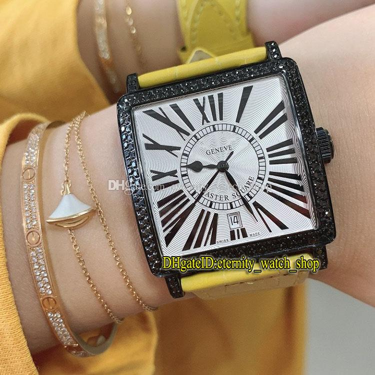 New Master Square 6000 K SC DT NR COL DRM R D CD белый циферблат ETA A2824 Автоматическая Женщина Часы Iced-Out Diamonds-инкрустация-Ободок Best-Lady-часы