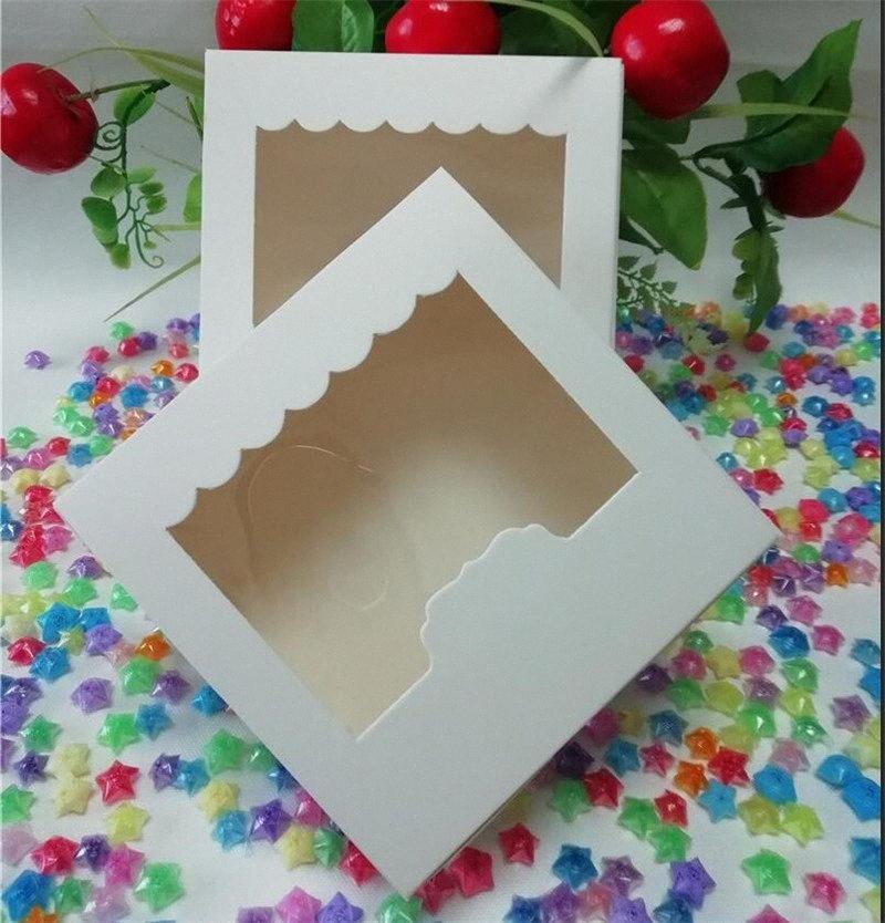 10pcs 13,5 * 13,5 * 5cm Klein Karton Papier Tortenschachtel Platz DIY Backen Box Hochzeitsfestbevorzugung Süßigkeit für Dekoration Geschenk Do3I #