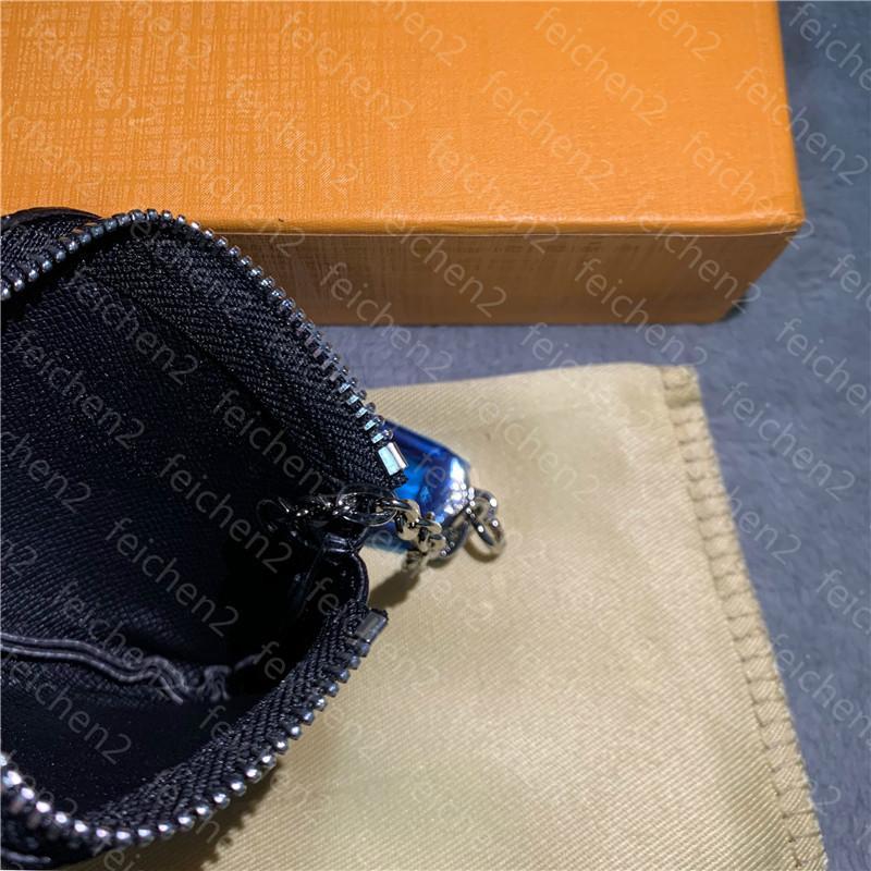 La bolsa de llaves sostiene el bolsillo M85A Cuero Damier Mayores monedas Clasísticas Mujeres Carteras Titular Pequeño Caja de Moda 5 Color con CO OWOAQ