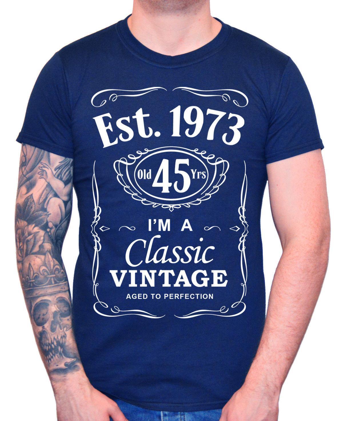 2020 camiseta fresca 45a Hombres de camiseta del cumpleaños Est 1973 Cuarenta vendimia Quinta 45 años de regalo la camiseta del verano