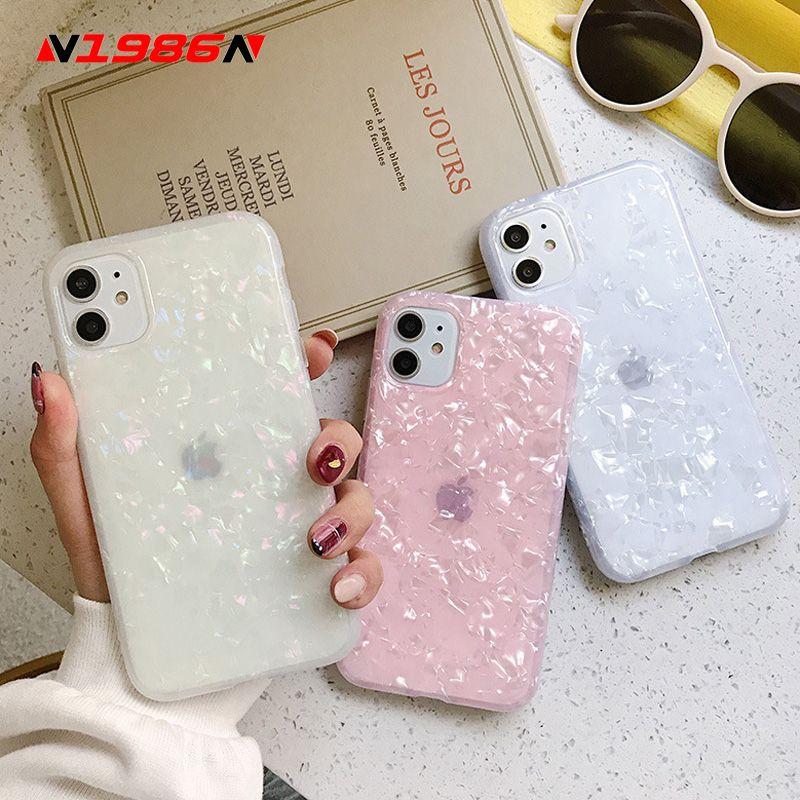 Für iPhone 6 7 Phone Case Glossy Funkeln Bling Beutel Shell Marmor weichen IMD-Kästen für iPhone 11 weiche TPU rückseitige Abdeckung