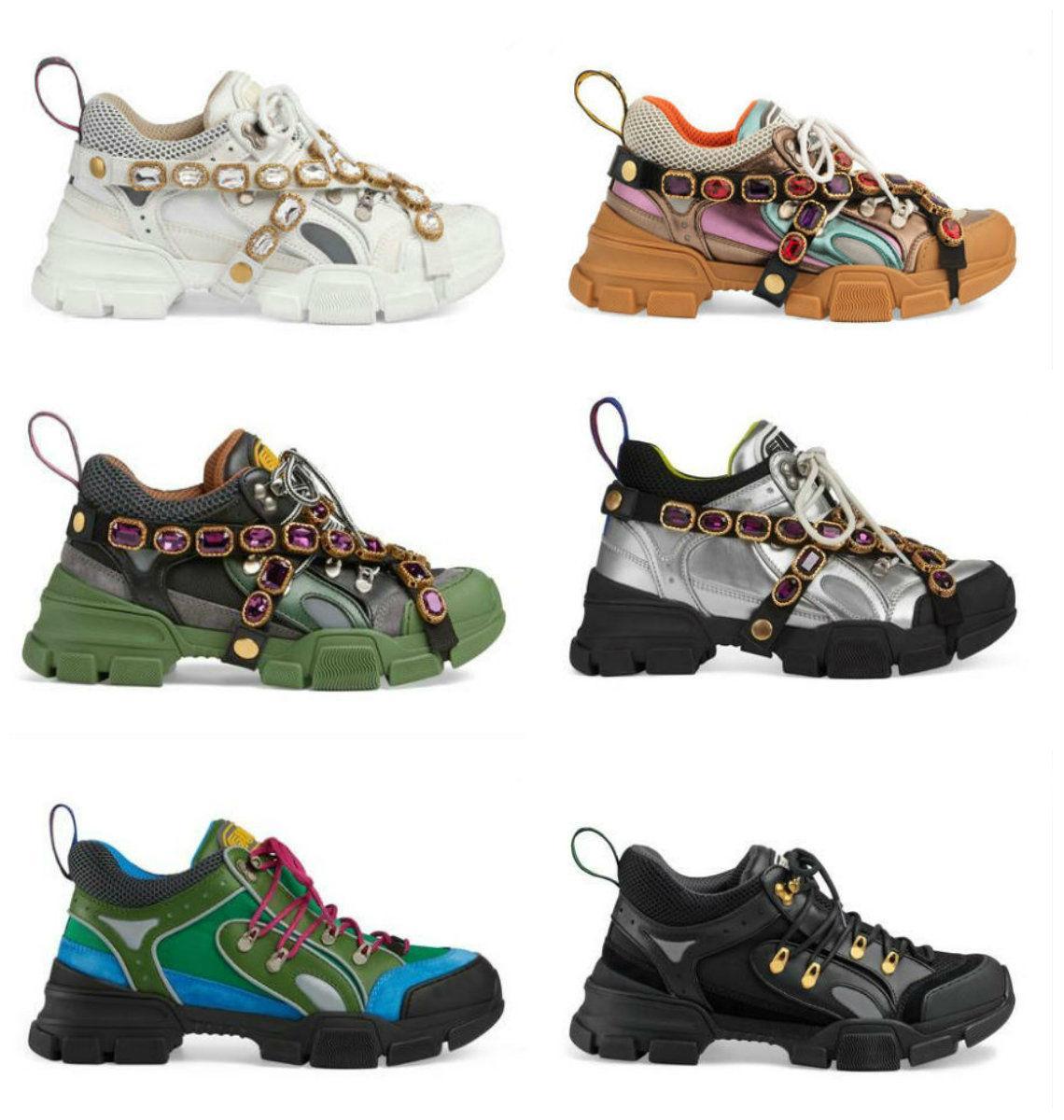 2020 FlashTrek кроссовок с съемными кристаллы Роскошная повседневная обувь моды Роскошные женские дизайнерские туфли Кроссовки Кроссовки