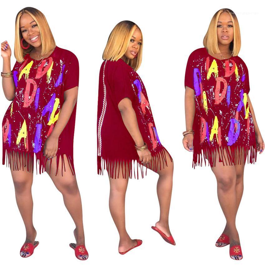 رسائل طباعة فضفاض السيدات اللباس عادية لون التباين قصير كم الشرابة المرأة الملابس الصيفية الفساتين