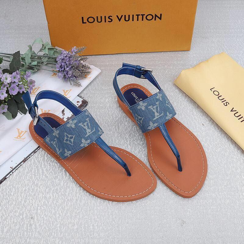L blau Frauenentwerfer Sandalen Cowboy Stoff Luxus Weisefrauensandelholze beste Qualität Designer Flip hochwertige Reise Designer Frauen Flops sho