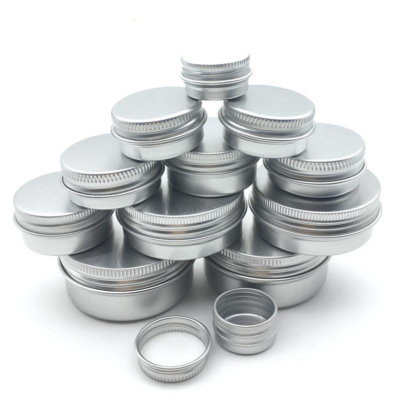 100pcs envase cosmético un 5/10/15/20/30/50 / 60g Tarro de aluminio Olla con tapa de ojos crema acondicionador del pelo de la lata tarro Pot cosmética metal CX200727