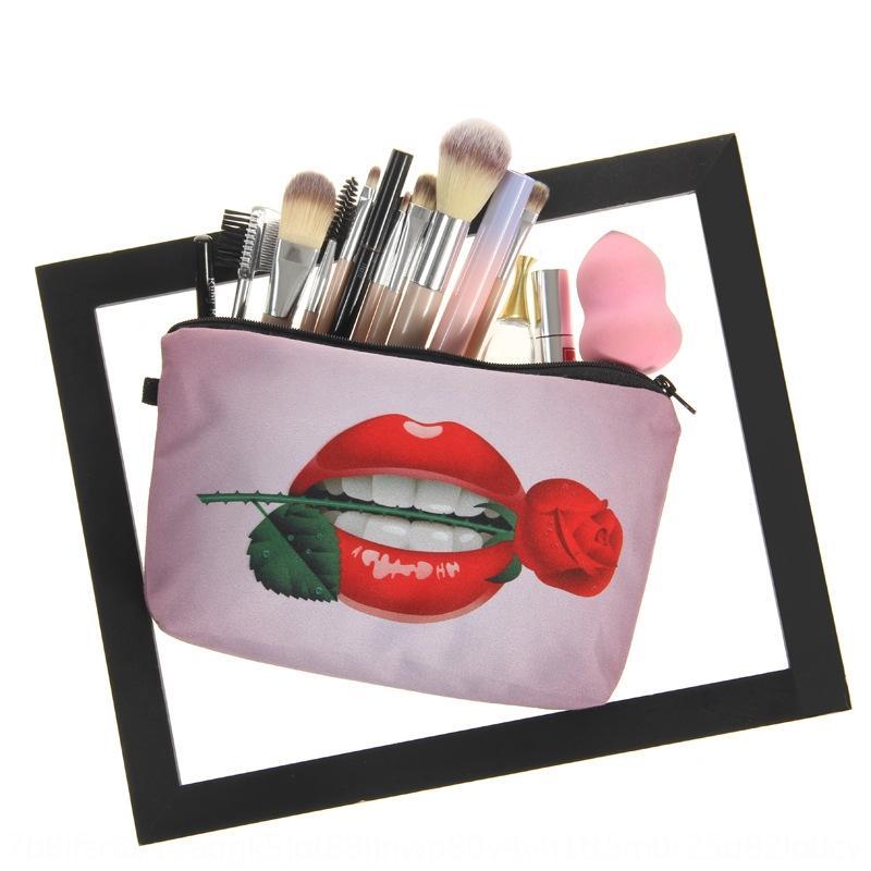 Rojo de labios rosa impresión almacenaje de múltiples funciones del bolso de cosméticos bolsa de cosméticos de almacenamiento de las mujeres