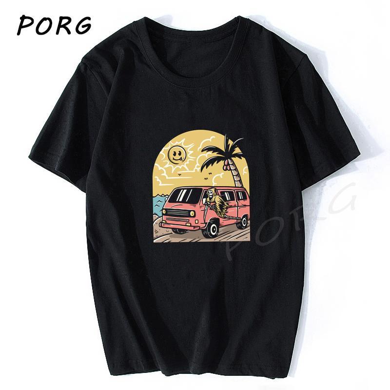 Vacaciones cráneo Ulzzang Camiseta Gótica Hip Hop camiseta de los hombres de envío gratuito Streetwear camiseta ropa del estilo del verano Camiseta Homme