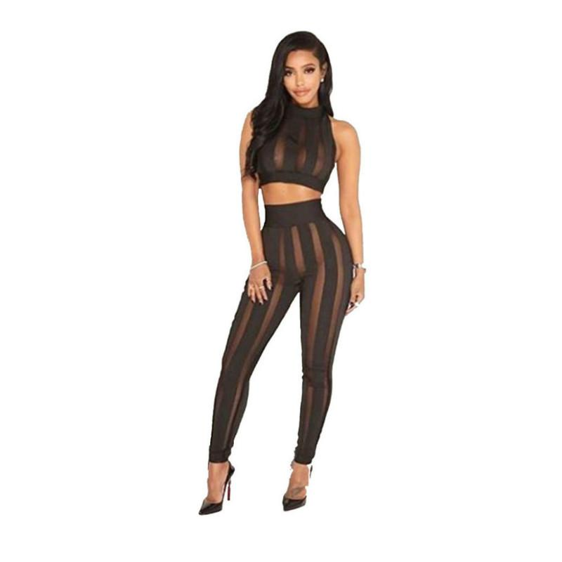 Women's Sexy 2 Piece Sets Mesh Patchwork Hollow Out Short Top and Long Pants Sexy Clubwear Tracksuit
