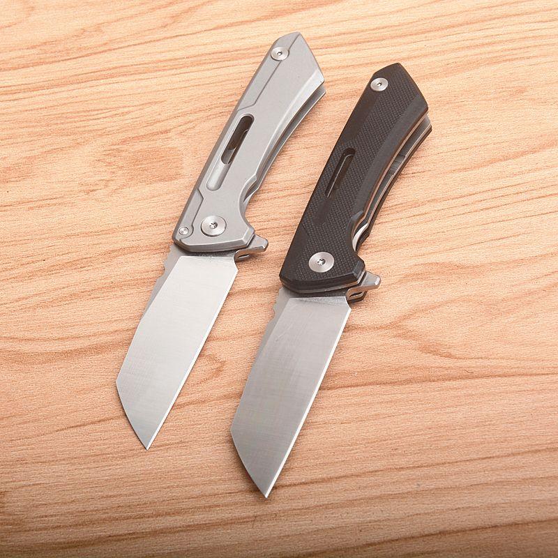 Qualitäts-Kugellager Flipper Folding Messer D2 Satin Tanto-Punkt-Blatt Schwarz G10 / Aviation Aluminum Handle EDC Messer