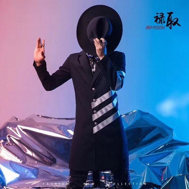 S-6XL !! südkoreanischer männlicher Modell Persönlichkeit Trend Mode Trenchcoat Mantel Nachtclub männliche Sänger bar Leistung Kleidung Männer Hf9O #