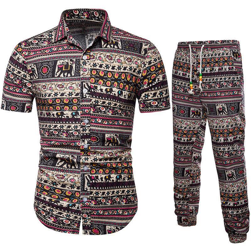 Homens Tops com terno de calças de linho manga curta respirável Casual Set roupa para o verão H9