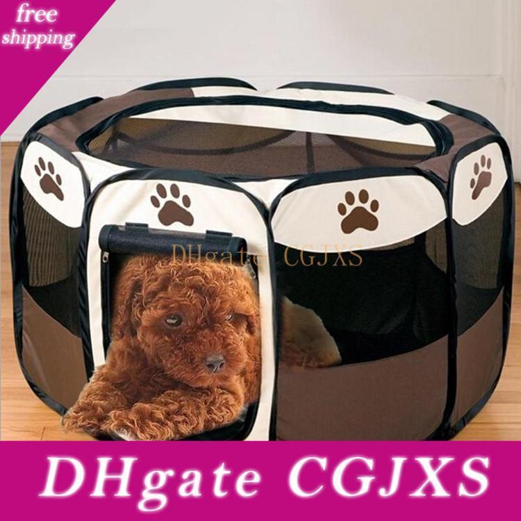 Portátil Cerca Folding octogonal Pet Dog House Gaiola Pet Tent filhote de cachorro ao ar livre Kennel 600D Oxford pano impermeável resistente a riscos 74 * 74 * 43CM