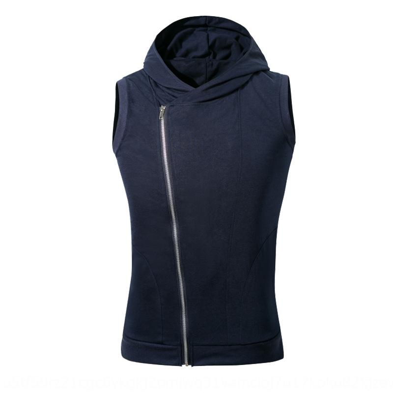 9YYB7 zLRit Summer men's slim vest men's thin card hooded sports vest zipper coat Exercise Coat fitness sleeveless sports fitness knitted exe