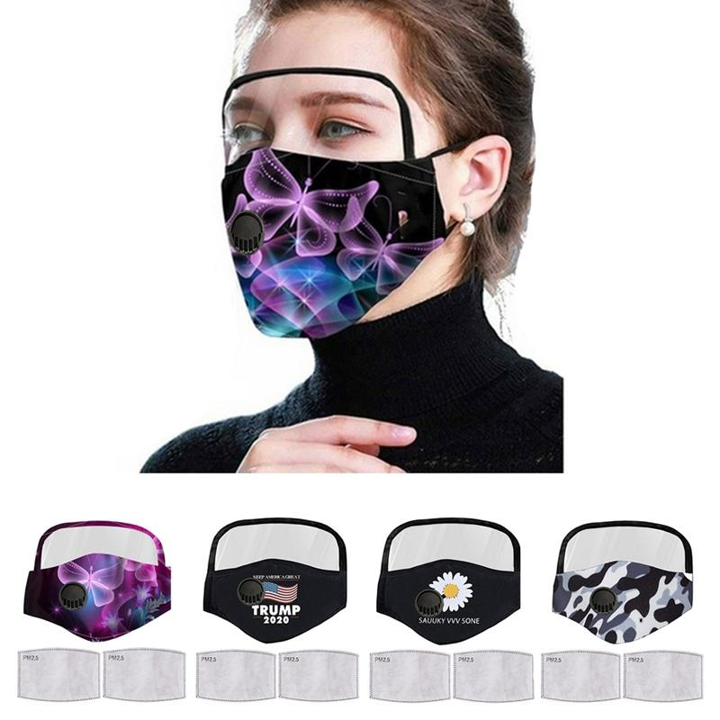 Donald Trump Gesichtsmaske Augen-Schild mit 2 Filtermundschutz Unisex Antistaub waschbar atmungsaktiv Designer Masken DDA165