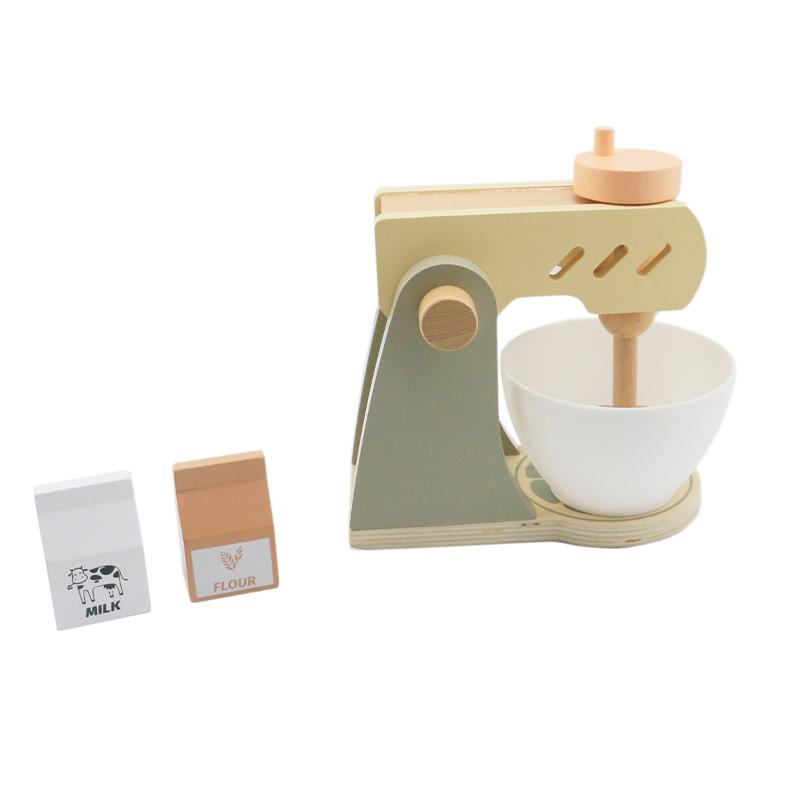 طفل لعبة خشبية القهوة آلة الطفل المطبخ واللعب 1PCS الغذاء وعاء بلاستيكي 1PCS مربع الحليب والطحين 1PCS مربع