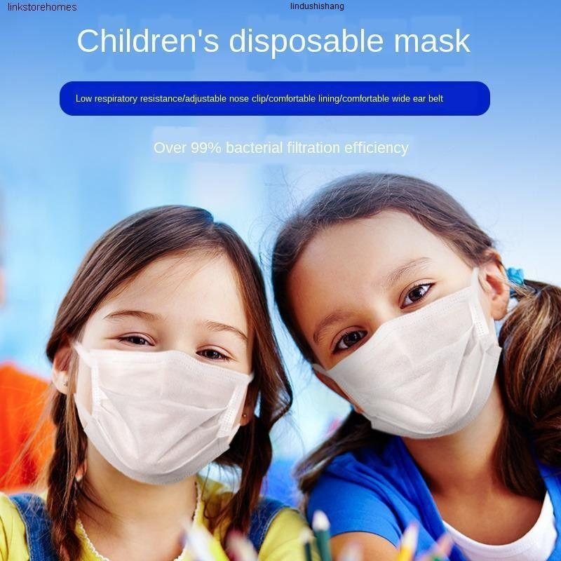 Гастроном Детской маски Student Одноразовые трехслойные защитные пены дышащий спрей Ткань маска для мальчиков и девочек