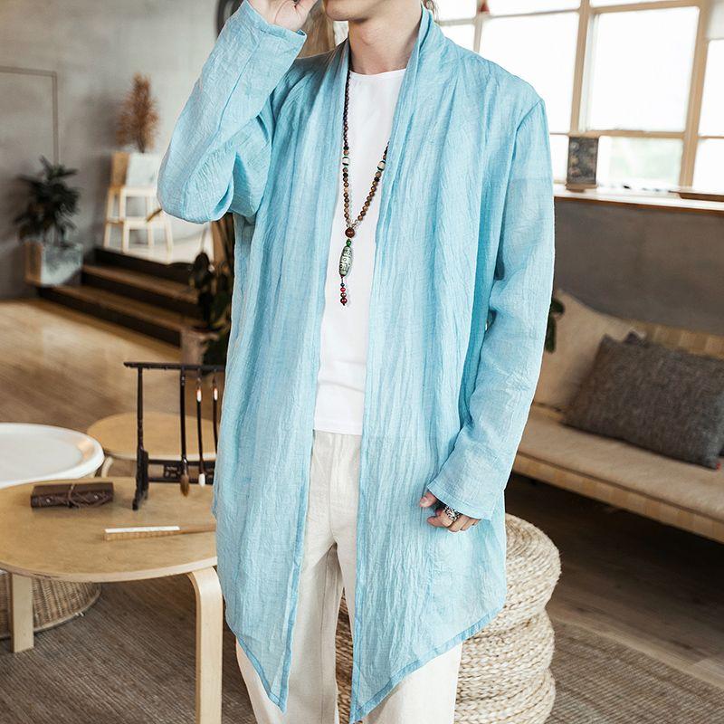 Summer Thin Chinese Style Cotton Sunscreen Windbreaker Japanese Retro Large Size Cardigan Thin Coat Trench Jacket Male Pink Blue