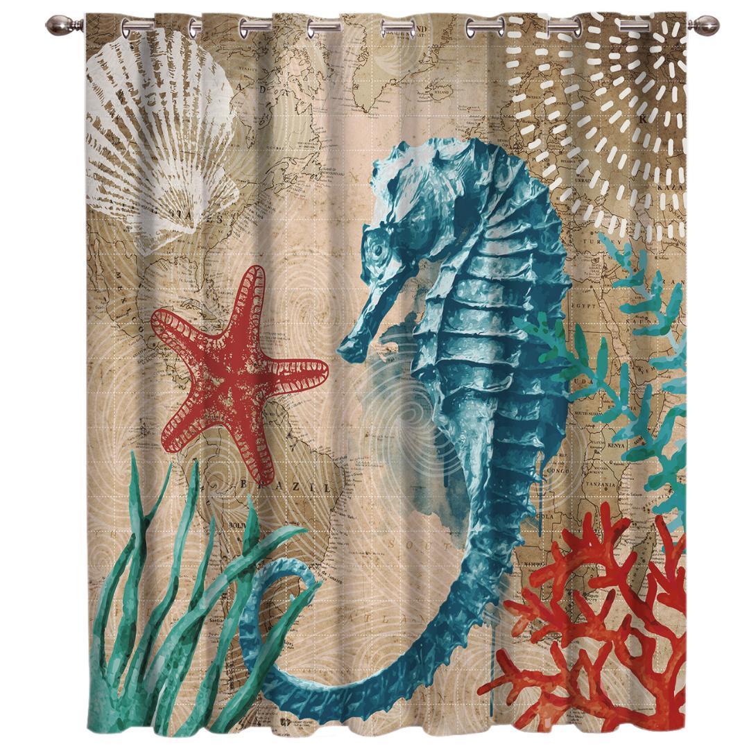 Sea Life Series marinhos quarto Cortinas Grande Cortina Luzes Blackout Quarto Painéis Cozinha cortina de tecido com guarnições