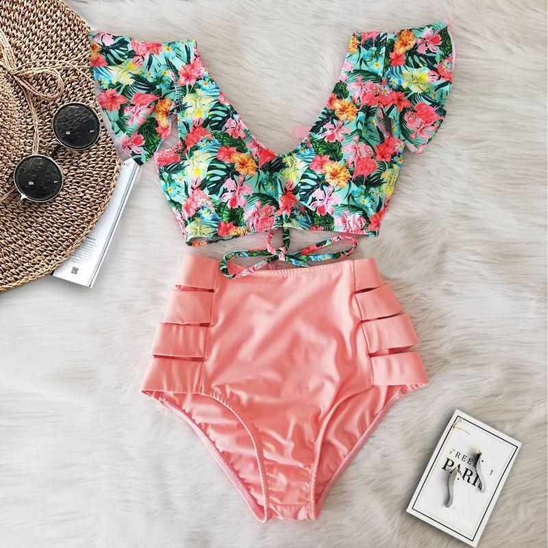 Bikini sexy 2020 nuovo doppio spalla Ruffle Bikini a vita alta Swimwear del costume da bagno delle donne V-Neck costume da bagno Beach costumi da bagno