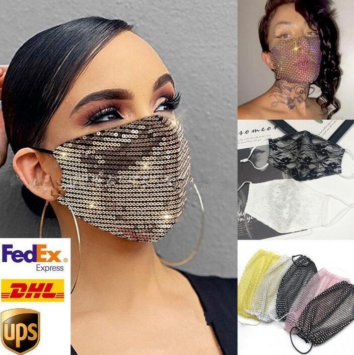 DHL Envío de la máscara de la máscara de la máscara de protección facial para la moda adulta con lentejuelas encaminadas / encaje / de cristal máscara de cara de lujo de máscara de fiesta
