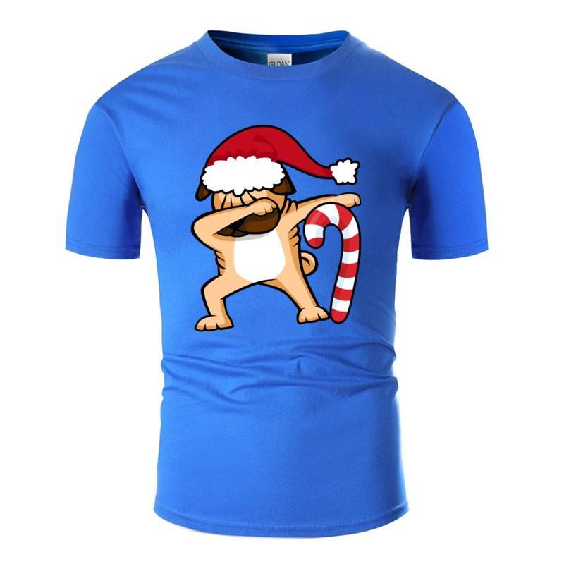 Tamponando Natale Pug maglietta del cotone slogan stampato Hilarious Abbigliamento collo rotondo comico T-shirt Camicie Camicia