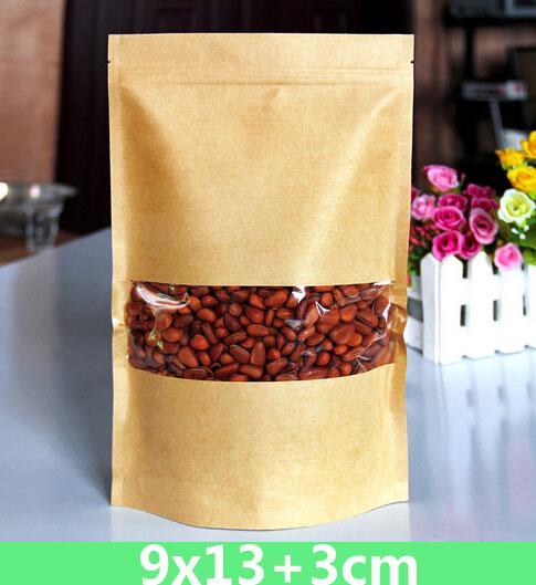 all'ingrosso 9-30cm serrature Kraft di carta con un modello a cerniera di imballaggio al minuto di plastica con finestra Stand up cibo borsa 100pcs / lot