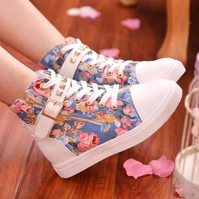 2020 الربيع والخريف الجديدة عالية الأعلى قماش الأحذية النسائية أحذية الأزياء الكورية زيبر برشام الطلاب شقة الأبيض أحذية