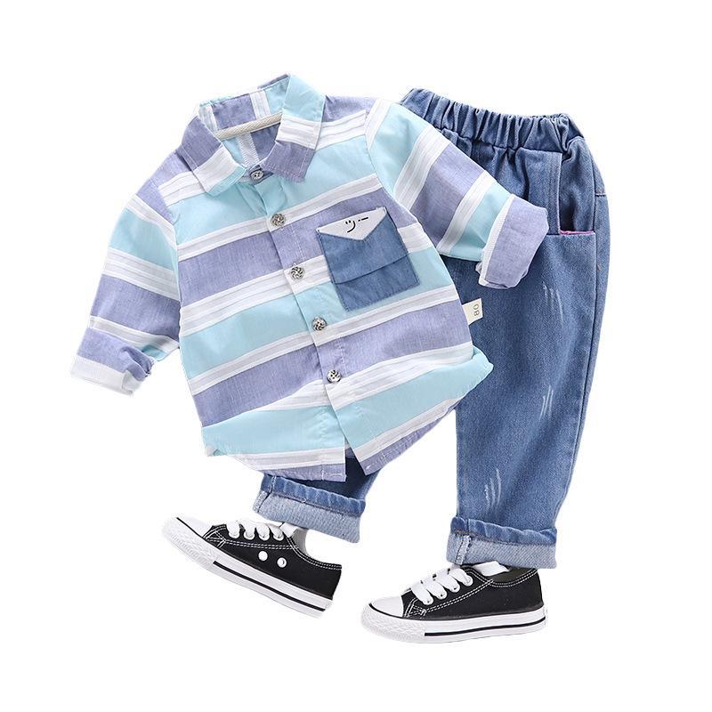 Conjuntos de ropa 2021 primavera otoño niño moda ropa bebé niños solapa camisa jeans pantalones 2pcs / sets niños infantil ropa deportiva casual