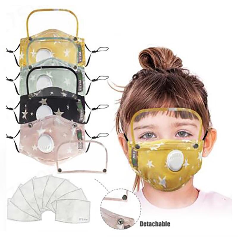 Masque enfants Coton visage avec protection Bouclier de protection des élèves PM2,5 Masque Visage Masques Enfants Lavable Tissu respirant DHB511