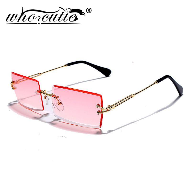 Trendy retângulo sem aro dos óculos de sol Mulheres 2020 Brand Design metal dos anos 90 Quadro Oceano Lens Frameless Sun Óculos Shades Feminino S298