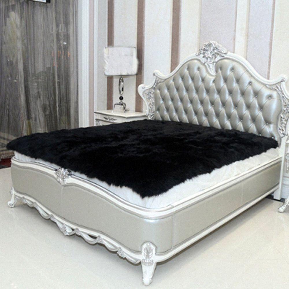 Preto Faux Sheepskin Rug Faux Fur Blanket decorativas Cobertores Piso Artificial Mat tapetes e carpetes Para Sala Fur Tapete Car Car ifUB #