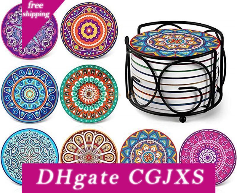 Подставки для напитков Mandala Стиль Coaster силиконовый коврик чаши Подходит для видов Чашки и Кружки Уникальный подарок для друзей